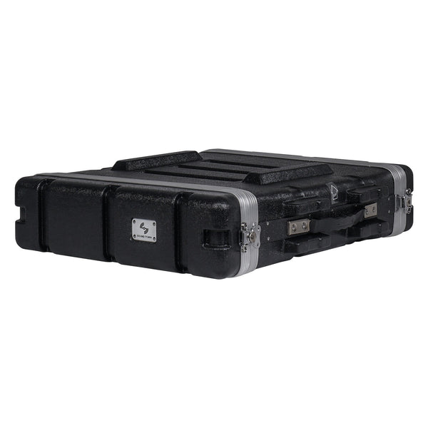 "Sound Town STRC-A2U Lightweight and Compact 2U (2 Space) PA DJ ABS Rack/Road Case, 19.25"" Depth and Heavy-Duty Latches - Main"