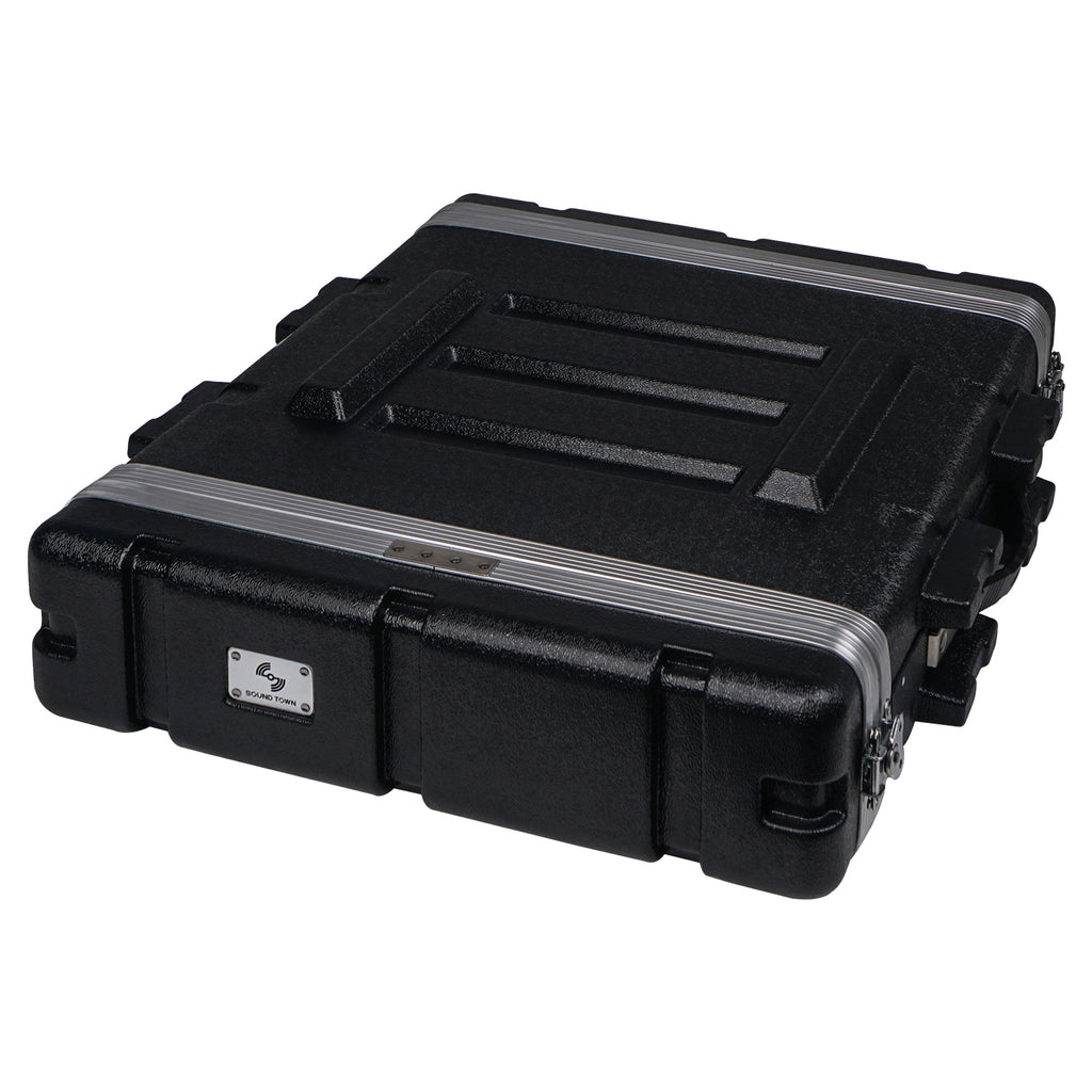 "Sound Town STRC-A2U Lightweight and Compact 2U (2 Space) PA DJ ABS Rack/Road Case, 19"" Depth and Heavy-Duty Latches 1"