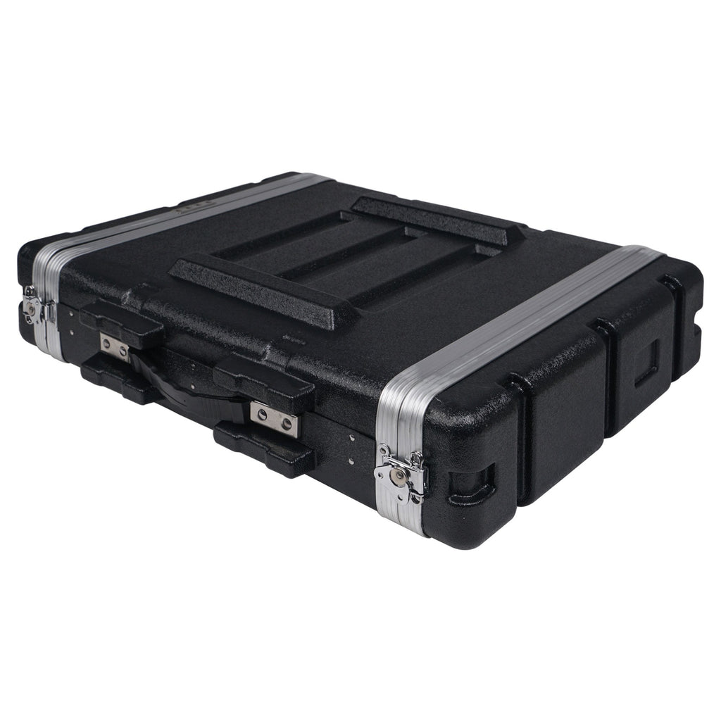 "Sound Town STRC-A2U Lightweight and Compact 2U (2 Space) PA DJ ABS Rack/Road Case, 19"" Depth and Heavy-Duty Latches 5"
