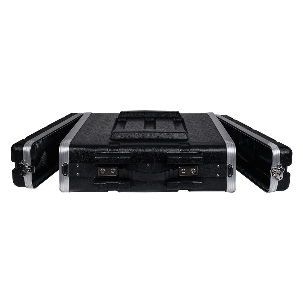 "Sound Town STRC-A2U Lightweight and Compact 2U (2 Space) PA DJ ABS Rack/Road Case, 19"" Depth and Heavy-Duty Latches 6"
