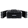 "Sound Town STRC-A4U Lightweight and Compact 4U (4 Space) PA DJ ABS Rack/Road Case, 19.25"" Depth and Heavy-Duty Latches - Open"