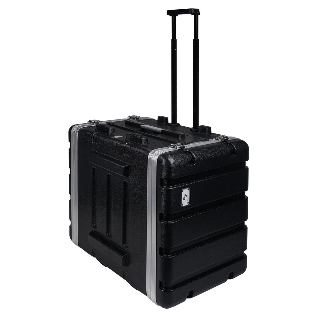 "Sound Town STRC-A8UT Lightweight and Compact 8U (8 Space) PA DJ ABS Rack/Road Case, 19"" Depth, Retractable Handle, Wheels and Heavy-Duty Latches - 4"