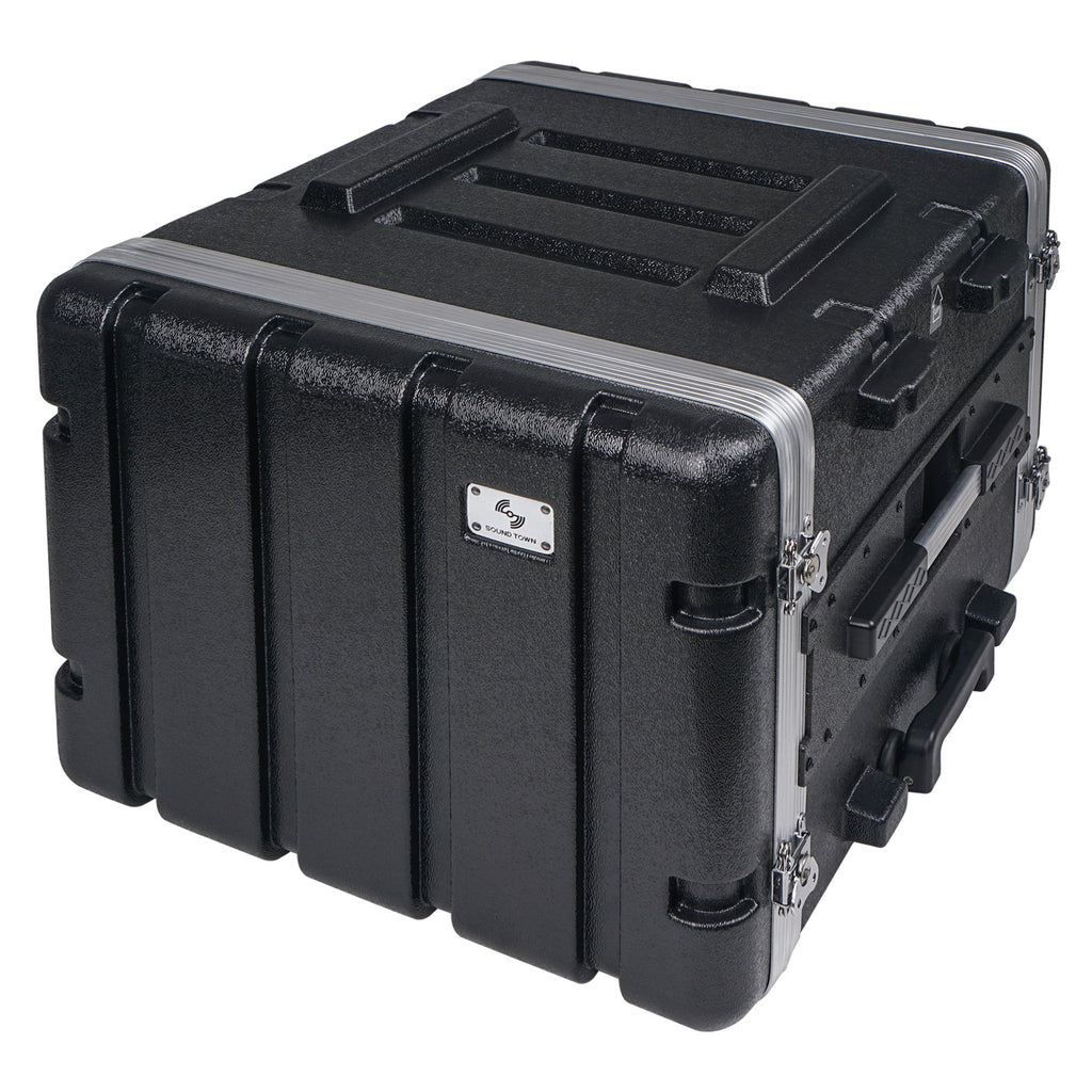 "Sound Town STRC-A8UT Lightweight and Compact 8U (8 Space) PA DJ ABS Rack/Road Case, 19"" Depth, Retractable Handle, Wheels and Heavy-Duty Latches - 6"