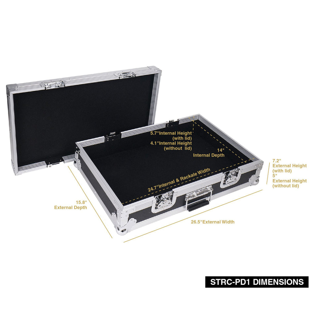 "Sound Town STRC-PD1 Guitar Pedalboard ATA Plywood Road Case, 24.7"" x 14"", Internal / External Size and Dimensions"