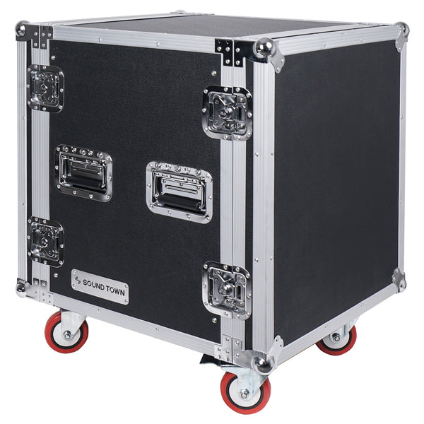 "Sound Town STRC-SP12UW 12U (12 Space) PA/DJ Shock Mount Rack/Road ATA Case with 17"" Rackable Depth and Casters"