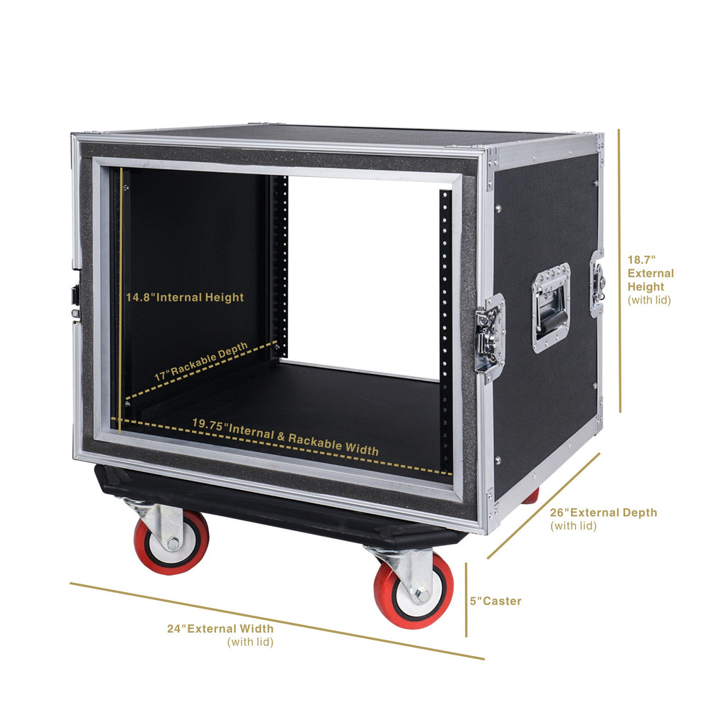 "Sound Town STRC-SP8UW 8U (8 Space) PA/DJ Shock Mount Rack/Road ATA Case with 17"" Rackable Depth and Casters - Dimensions"
