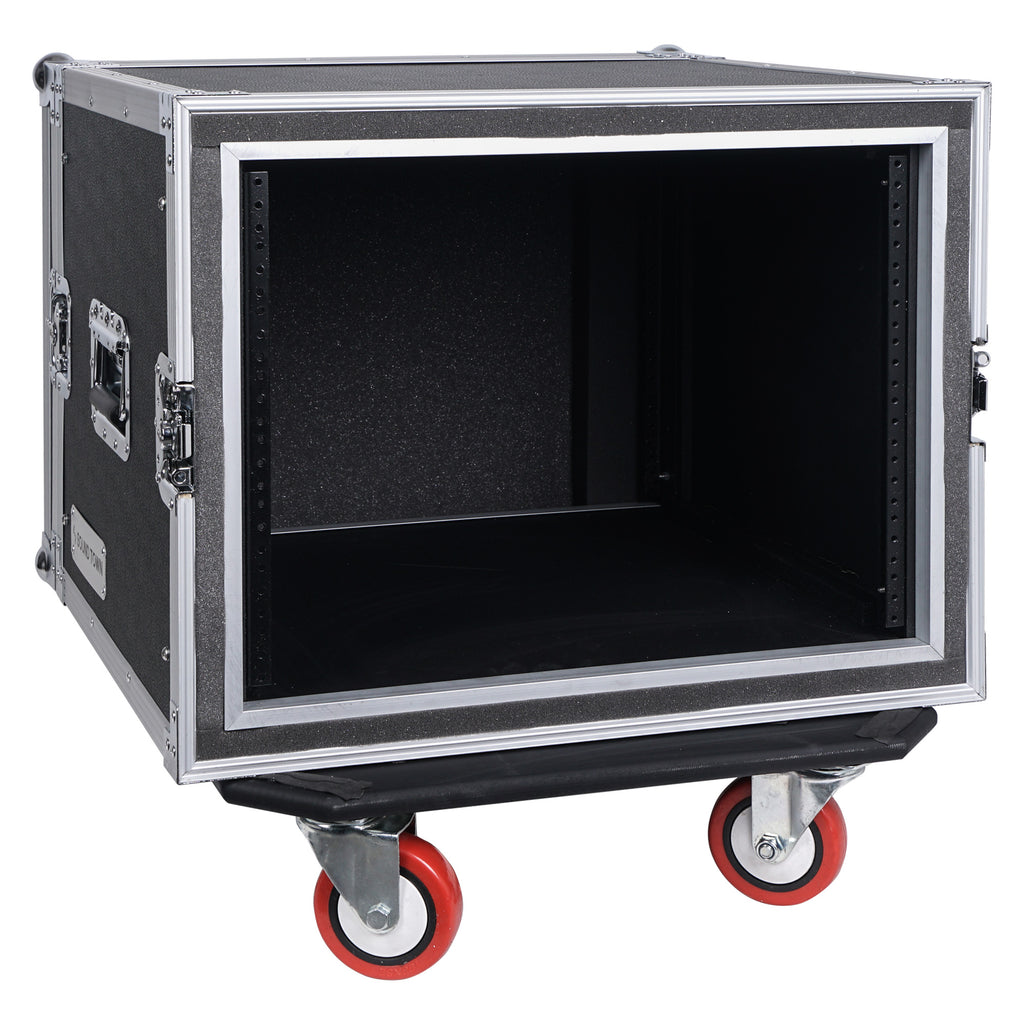 "Sound Town STRC-SP8UW 8U (8 Space) PA/DJ Shock Mount Rack/Road ATA Case with 17"" Rackable Depth and Casters - Removable Front Cover"