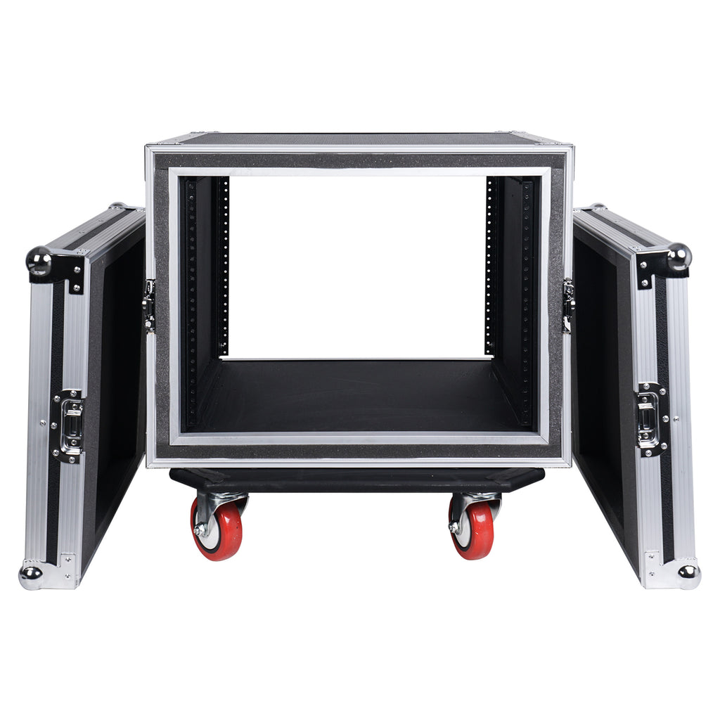 "Sound Town STRC-SP8UW 8U (8 Space) PA/DJ Shock Mount Rack/Road ATA Case with 17"" Rackable Depth and Casters - Removable Front and Back Covers"