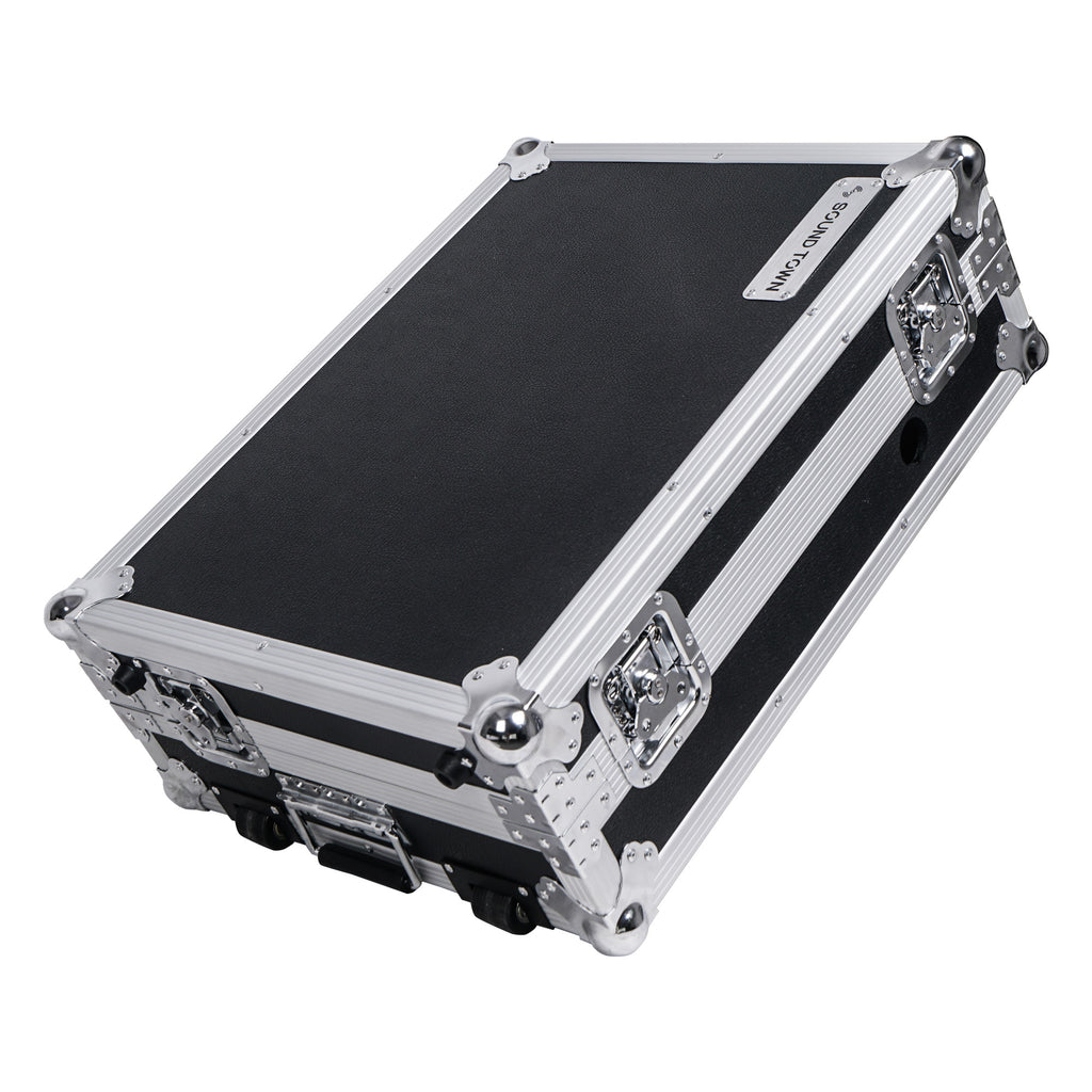 Sound Town STRC-SRLT DJ Controller Road Case with Sliding Platform, Wheels and Rubber Handles - Inline Skate Wheels, Portable