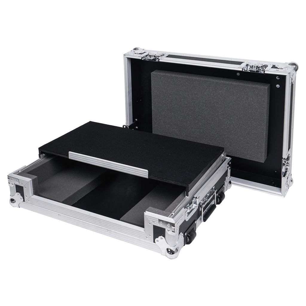 Sound Town STRC-SRLT DJ Controller Road Case with Sliding Platform, Wheels and Rubber Handles - Shock Proof
