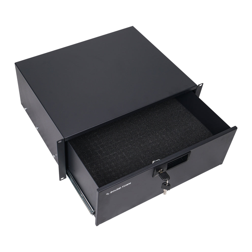 "Sound Town STRD-4D 19"" 4U Locking Rack Mount Sliding Drawer, with Protection Foam - for Equipment Storage"