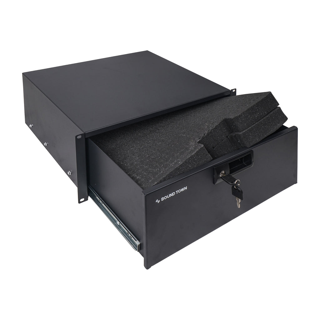 "Sound Town STRD-4D 19"" 4U Locking Rack Mount Sliding Drawer, with Protection Foam - Standard Width with Key"