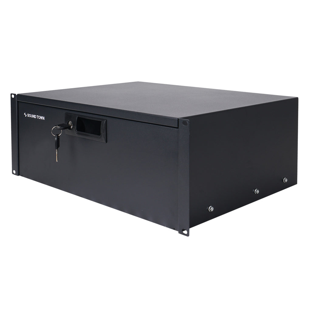 "Sound Town STRD-4D 19"" 4U Locking Rack Mount Sliding Drawer, with Protection Foam - Steel, Security Box"
