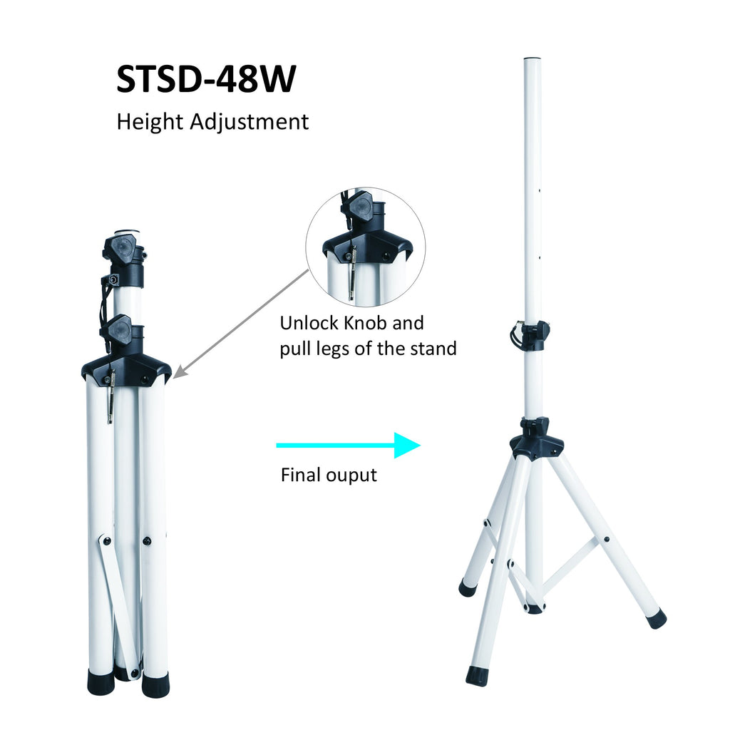 Sound Town STSD-48W-PAIR Universal Tripod Speaker Stand with Adjustable Height, 35mm Compatible Insert, Locking Knob and Shaft Pin, White - Height Adjustment Instructions