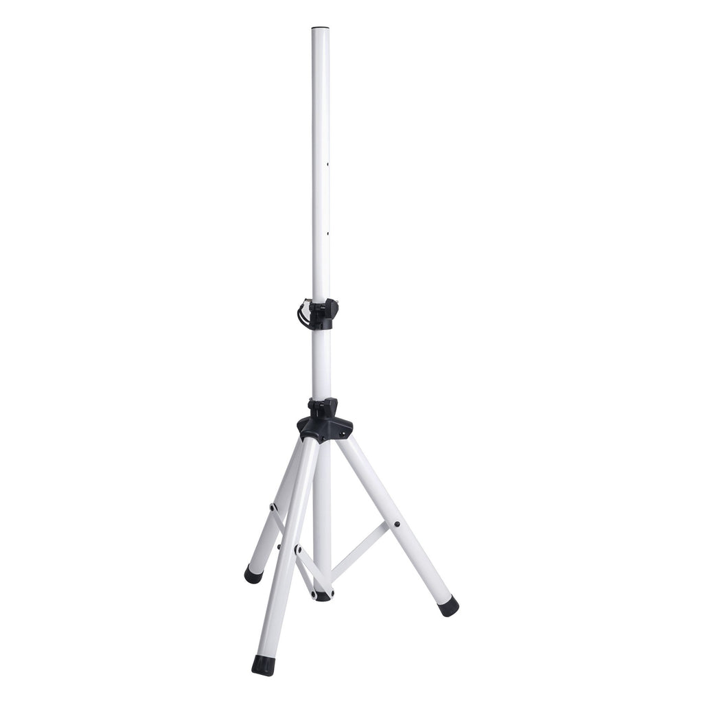 Sound Town STSD-48W-PAIR Universal Tripod Speaker Stand with Adjustable Height, 35mm Compatible Insert, Locking Knob and Shaft Pin, White - Open