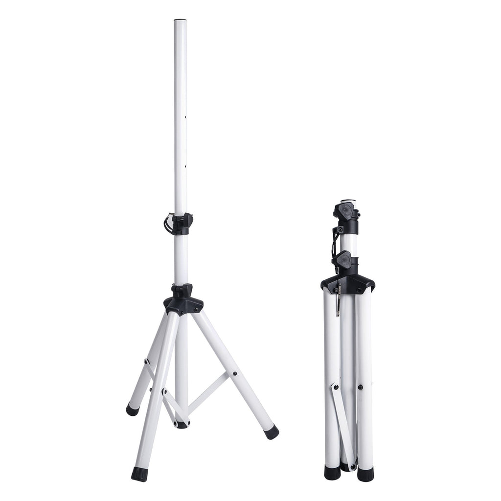 Sound Town STSD-48W-PAIR 2-Pack Universal Tripod Speaker Stands with Adjustable Height, 35mm Compatible Insert, Locking Knob and Shaft Pin, White - Open & Closed