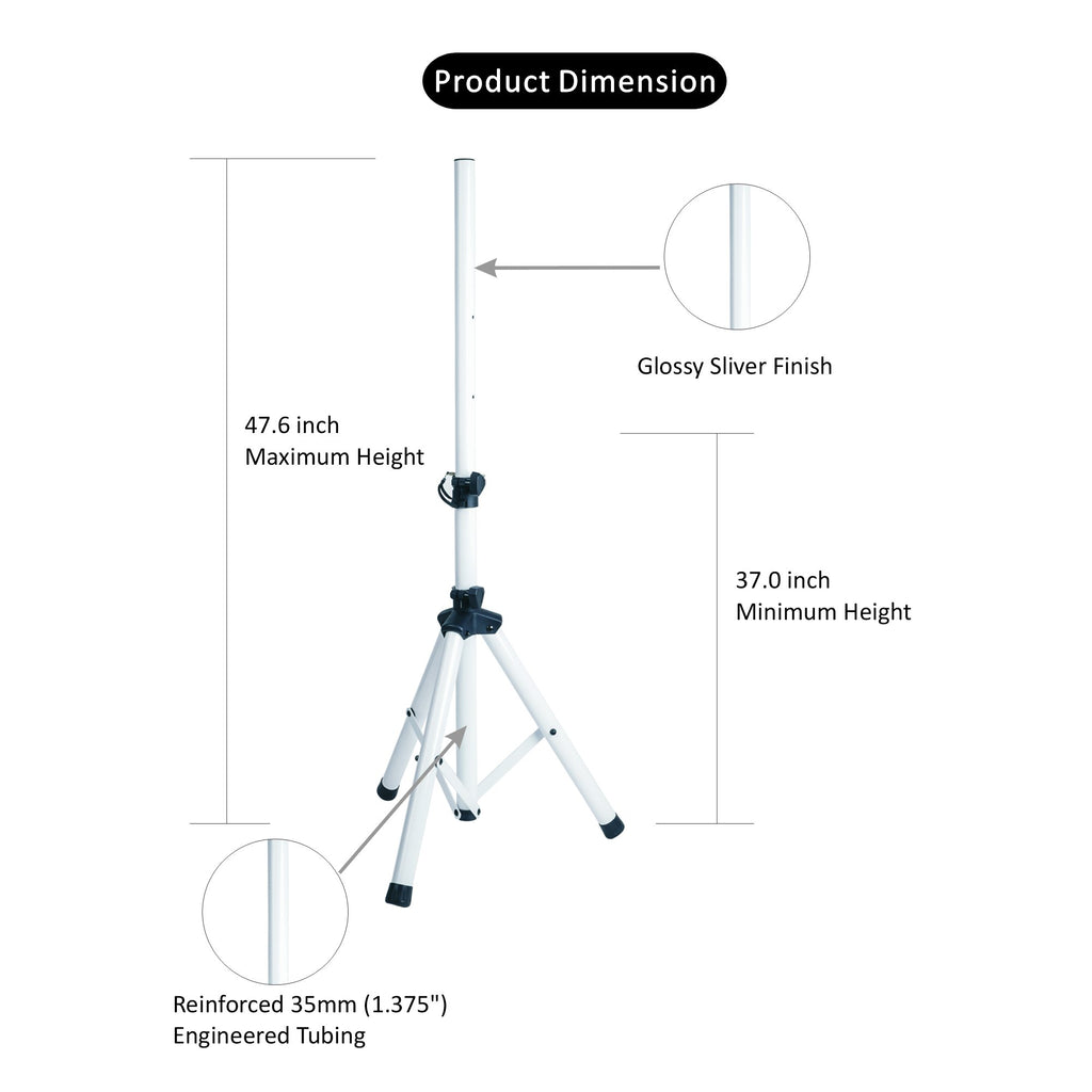 Sound Town STSD-48W-PAIR Universal Tripod Speaker Stand with Adjustable Height, 35mm Compatible Insert, Locking Knob and Shaft Pin, White - Product Dimensions