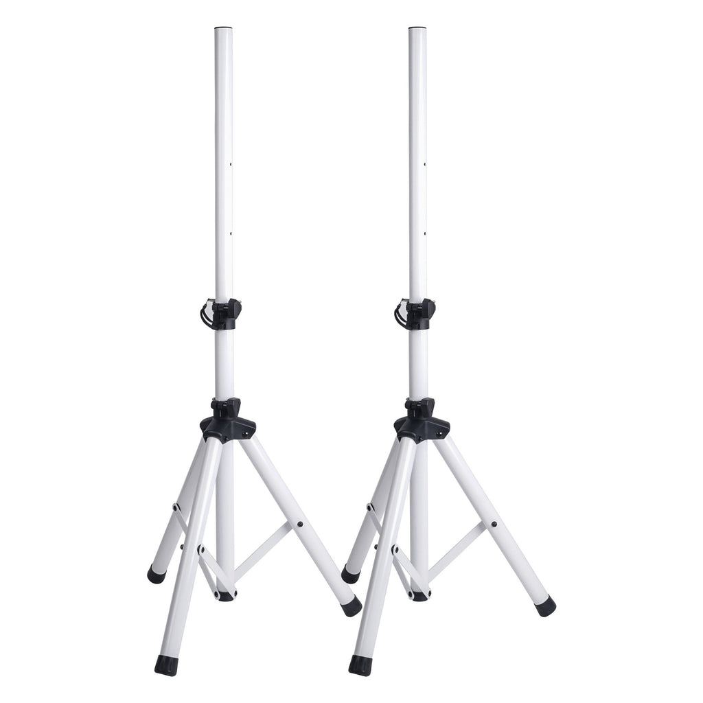 Sound Town STSD-48W-PAIR 2-Pack Universal Tripod Speaker Stands with Adjustable Height, 35mm Compatible Insert, Locking Knob and Shaft Pin, White