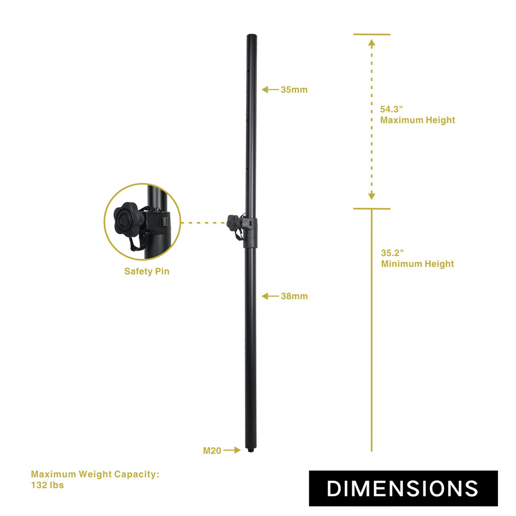 Sound Town STSDA-M54B Pair of Subwoofer Speaker Poles with Adjustable Height and M20 Thread - Size and Dimensions