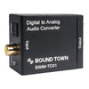Sound Town SWM-TC01 Digital to Analog Audio Converter, SPDIF Toslink Optical and Coaxial to RCA (LR) Audio with Fiber Cable and Coaxial Cable -Input Panel