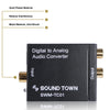 Sound Town SWM-TC01 Digital to Analog Audio Converter, SPDIF Toslink Optical and Coaxial to RCA (LR) Audio with Fiber Cable and Coaxial Cable - Features