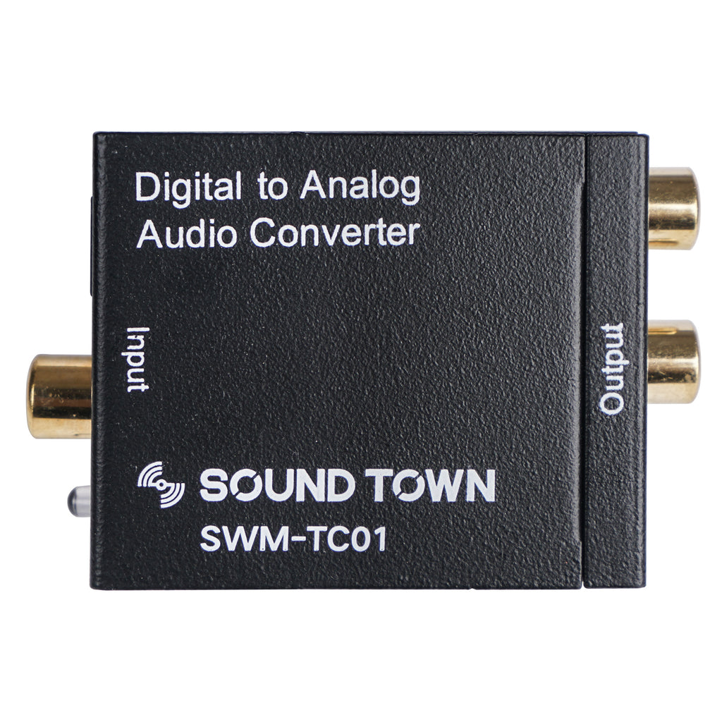 Sound Town SWM-TC01 Digital to Analog Audio Converter, SPDIF Toslink Optical and Coaxial to RCA (LR) Audio with Fiber Cable and Coaxial Cable - Front Panel