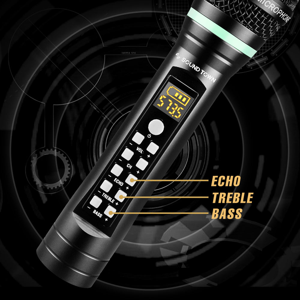 """Sound Town SWM01-U2HH 100-Channel UHF Rechargeable Wireless Handheld Microphone System with Bluetooth, Built-in Effects, 1/4"""" Mini Portable Receiver for Karaoke, Events, Church, Meetings - with Echo, Treble, Bass Controls"""
