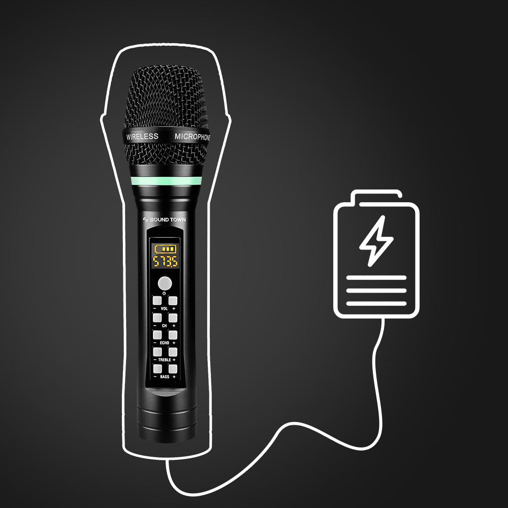 """Sound Town SWM01-U2HH 100-Channel UHF Rechargeable Wireless Handheld Microphone System with Bluetooth, Built-in Effects, 1/4"""" Mini Portable Receiver for Karaoke, Events, Church, Meetings - USB Charging"""