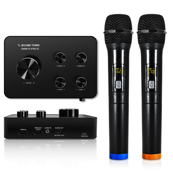 Sound Town SWM15-PRO Dual-Channel Wireless Microphone Karaoke Mixer System with HDMI ARC, Optical (Toslink), AUX, RCA, Bluetooth, 2 Handheld Microphones - Selectable Frequencies - Works with, For, Supports Smart TV, Sound Bar, Media Box, Receiver, Streaming Device, Chromecast, ROKU Box, Firestick, Home Theatre, Home Theater, Youtube App - Main
