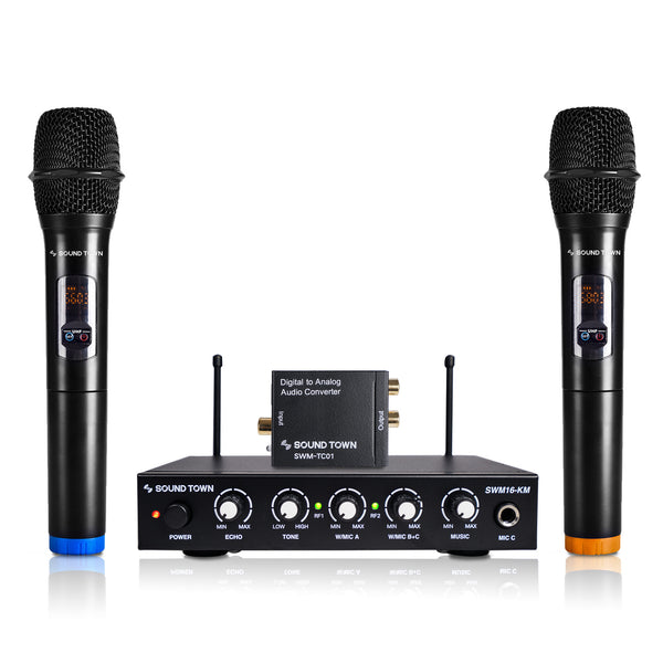 Sound Town SWM16-KMTC SWM Series UHF 16 Channels Wireless Microphone and Home Karaoke Mixer System with Digital to Analog Audio Converter (SPDIF Toslink Optical and Coaxial to RCA) and 2 Handheld Microphones, works with Smart TV