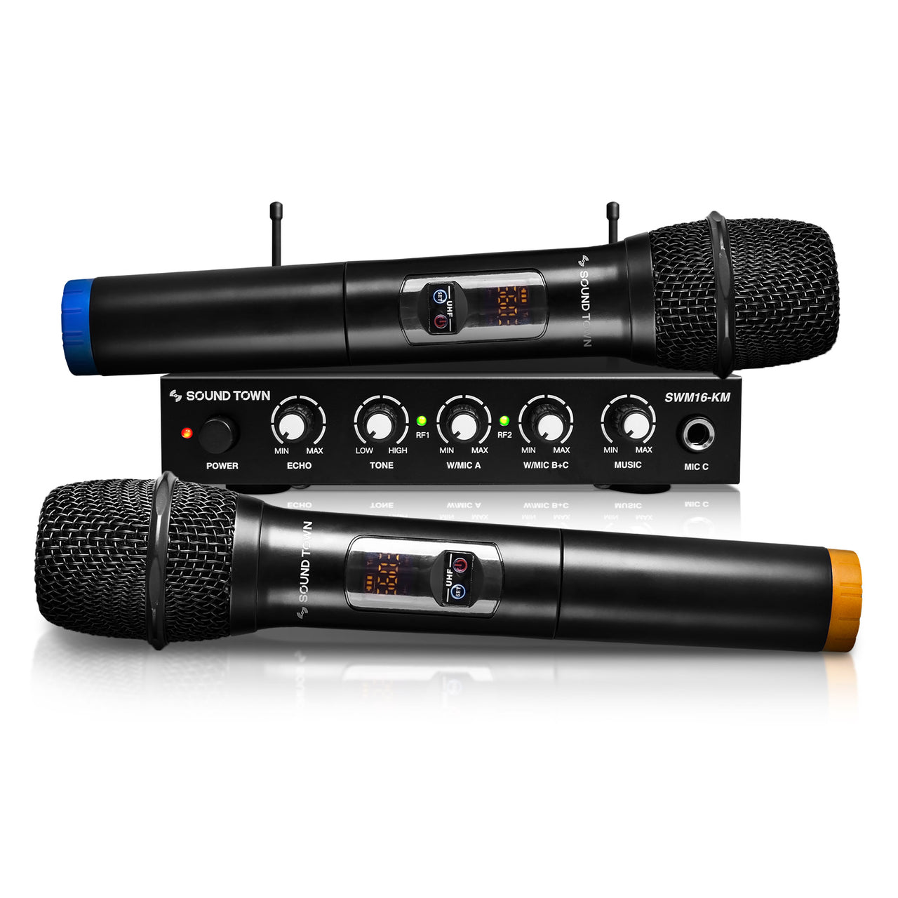 SWM16-KM<br/>SWM Series UHF 16 Channels Wireless Microphone & Karaoke Mixer System w/ 2 Handheld Microphones, for Church, School, Wedding, Meeting, Karaoke