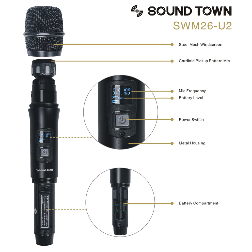 Sound Town SWM26-U2 SWM Series Metal 200 Channels UHF Wireless Microphone System with 2 Wireless Microphones and Auto Scan, for Church, School, Outdoor Wedding, Meeting, Party and Karaoke