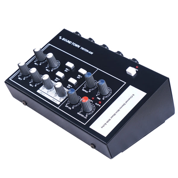 "8-Channel Mono Stereo Karaoke Mini Mixer with 1/4"" Inputs and Outputs, Echo/Delay Effect and Depth Controls (TRITON-A08)"