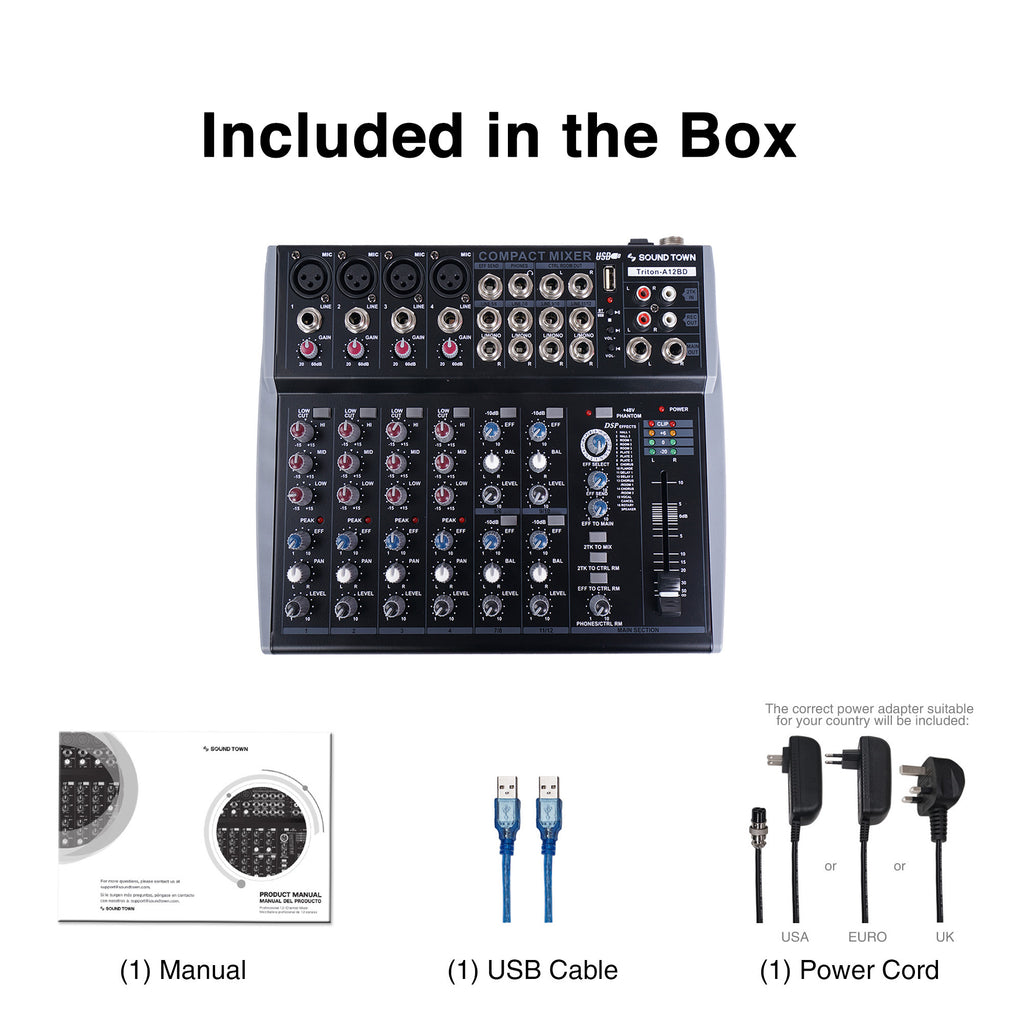 Sound Town TRITON-A12BD TRITON Series Professional 12-Channel Passive Audio Mixer with Bluetooth, USB Flash Drive Input and DSP - Included in the box; Manual, USB Cable, USA / EURO / UK Power Cord