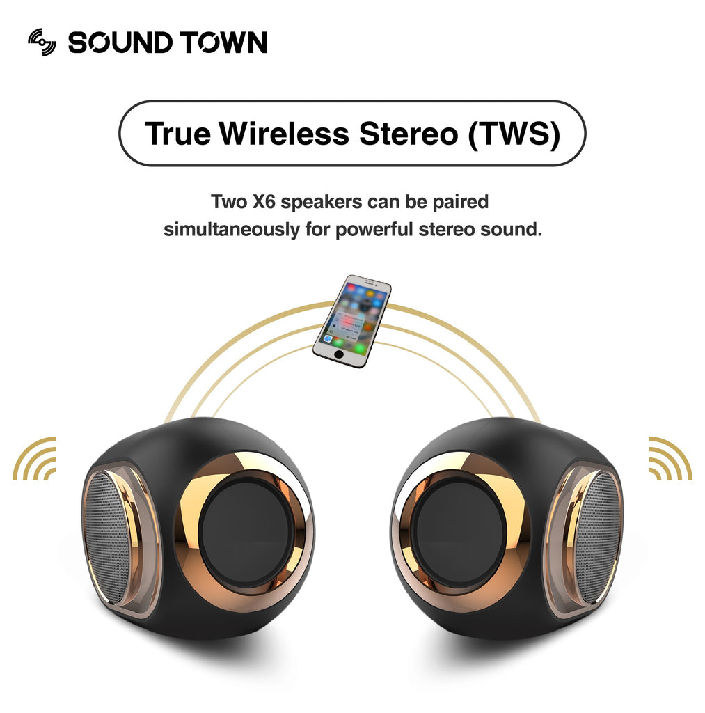 Sound Town X6 Series Waterproof Portable Bluetooth Speaker, TWS Bluetooth, IPX54, Stereo Sound, Built-in Mic for Phone Calls, for Home and Outdoor - True Wireless Stereo, Dual Pairing