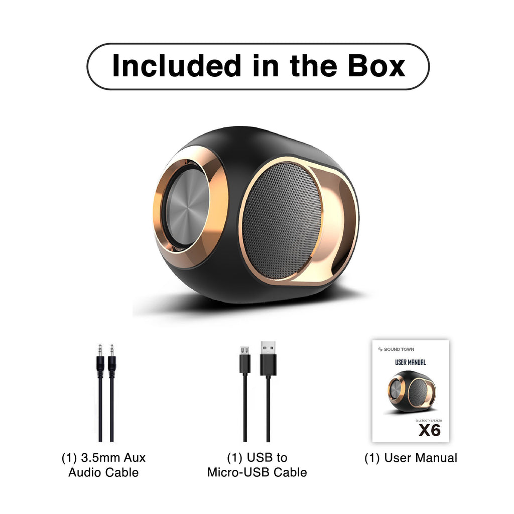 Sound Town X6 Series Waterproof Portable Bluetooth Speaker, TWS Bluetooth, IPX54, Stereo Sound, Built-in Mic for Phone Calls, for Home and Outdoor - Included in the Box, 3.5mm Aux Audio Cable, USB to Micro-USB Cable, User Manual