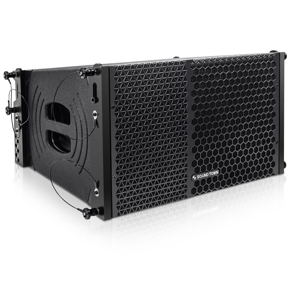 Sound Town ZETHUS-110PWX2 ZETHUS Series 1200W Powered Line Array Speaker System with Two 10-inch Powered Line Array Speakers, Black for Installation, Live Sound, Bar, Club, Church - Right Panel