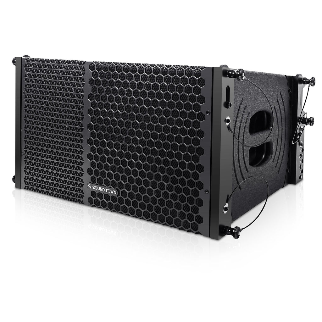 Sound Town ZETHUS-110PWX2 ZETHUS Series 1200W Powered Line Array Speaker System with Two 10-inch Powered Line Array Speakers, Black for Installation, Live Sound, Bar, Club, Church - Left Panel