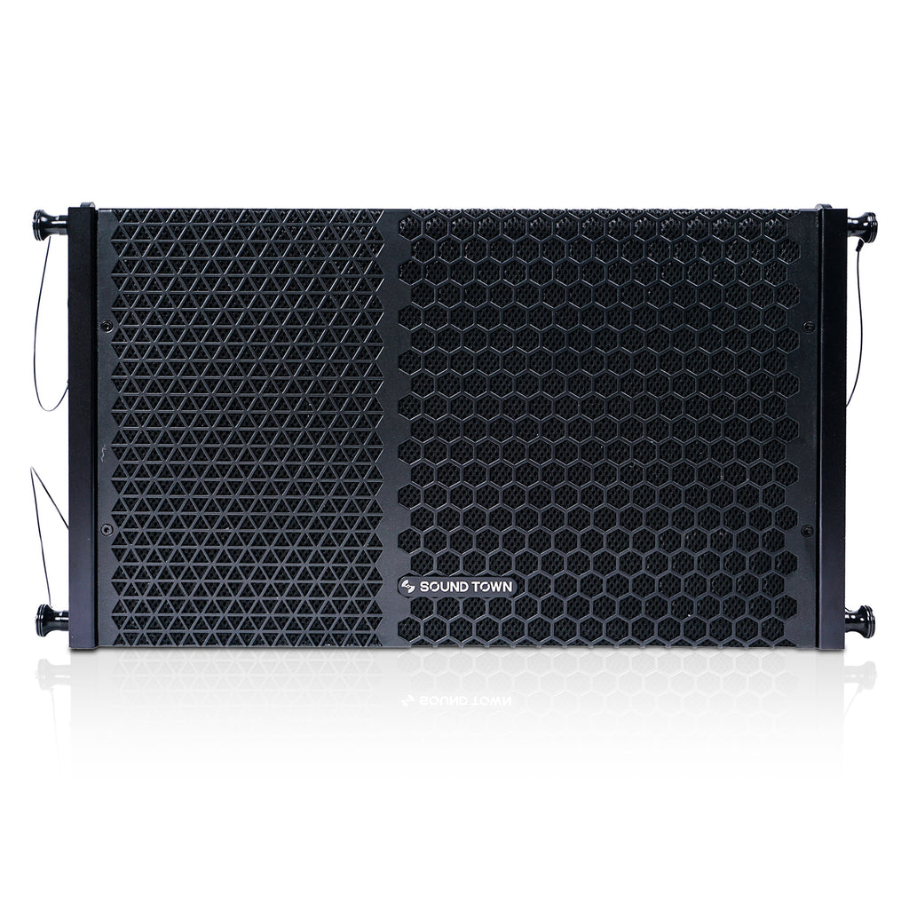 "Sound Town ZETHUS-110PWX4 10"" Powered Two-Way Line Array Loudspeaker System with Titanium Compression Driver, Black - Front Panel"