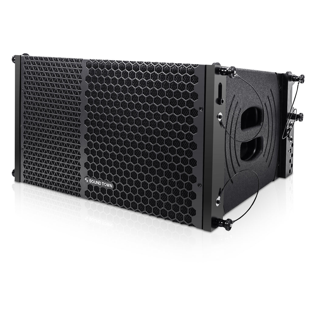"Sound Town ZETHUS-110PWX4 10"" Powered Two-Way Line Array Loudspeaker System with Titanium Compression Driver, Black - Left Panel"