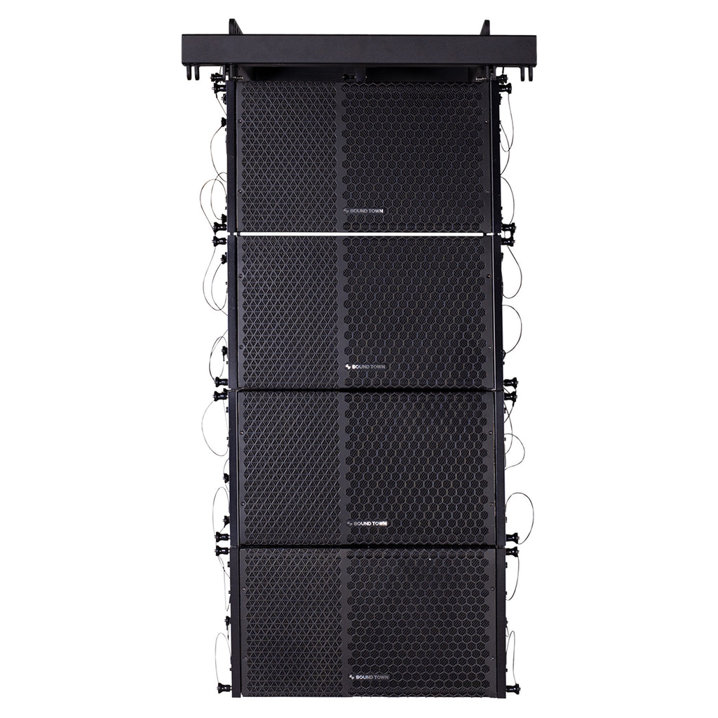 Sound Town ZETHUS-110PWX4 ZETHUS Series Line Array Speaker System with Four Compact Powered 1 X 10-inch Line Array Speakers, Black for Stages, Clubs, Bars, Restaurants, Churches and Schools