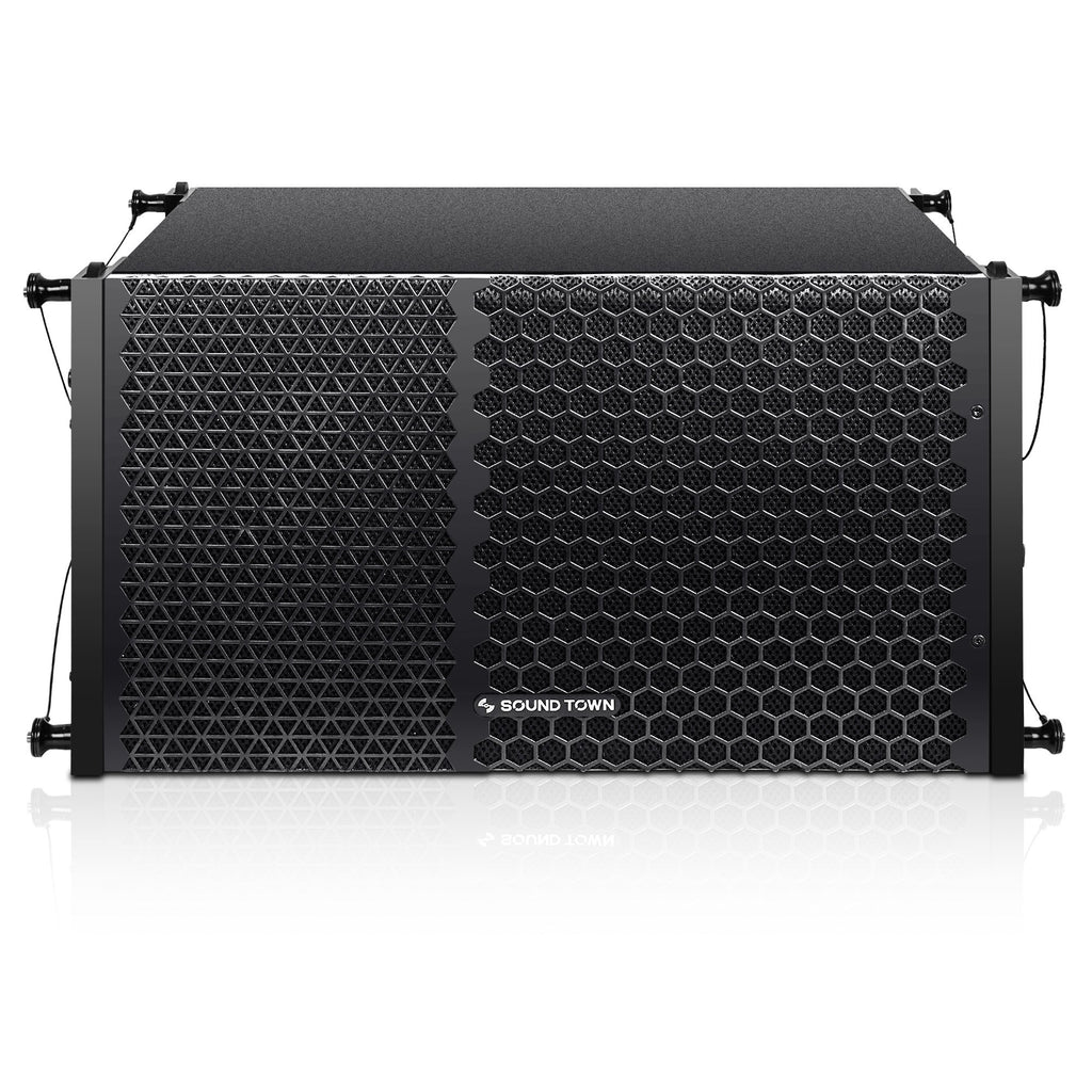"Sound Town ZETHUS-110PW ZETHUS Series 10"" Powered Two-Way Line Array Loudspeaker System with Titanium Compression Driver, Black - Front Panel"