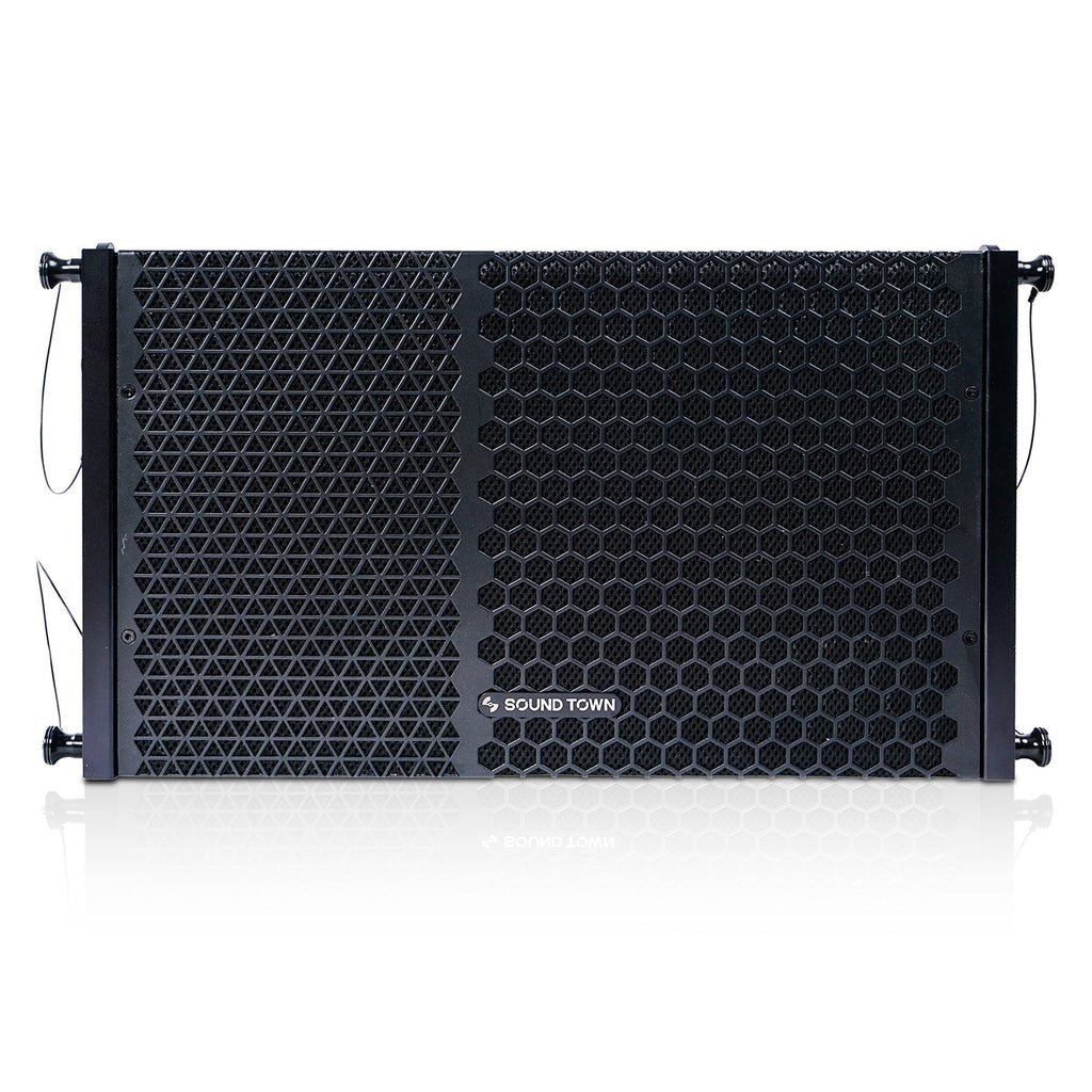 "Sound Town ZETHUS-110PW ZETHUS Series 10"" Powered Two-Way Line Array Loudspeaker System with Titanium Compression Driver, Black - Main Panel"