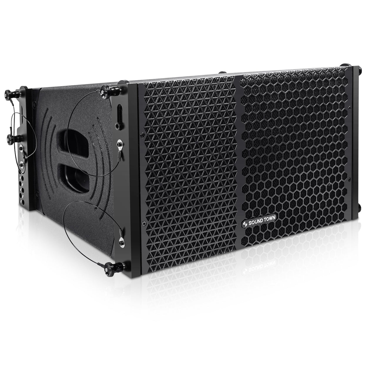 "Sound Town ZETHUS-110PW ZETHUS Series 10"" Powered Two-Way Line Array Loudspeaker System with Titanium Compression Driver, Black - Right Panel"
