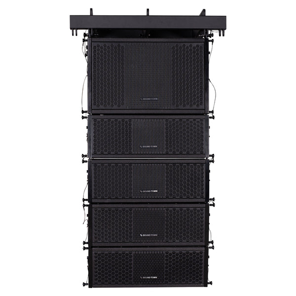 Sound Town ZETHUS-110S-205V2 ZETHUS Series Line Array Speaker System with One 10-inch Line Array Subwoofer, Four Compact Dual 5-inch Line Array Speakers, Black - Front