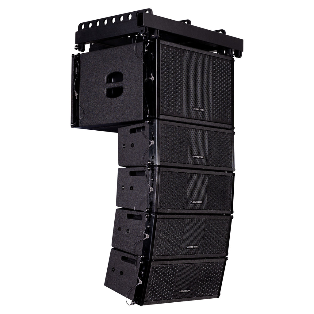 Sound Town ZETHUS-110S-205V2 ZETHUS Series Line Array Speaker System with One 10-inch Line Array Subwoofer, Four Compact Dual 5-inch Line Array Speakers, Black - Side
