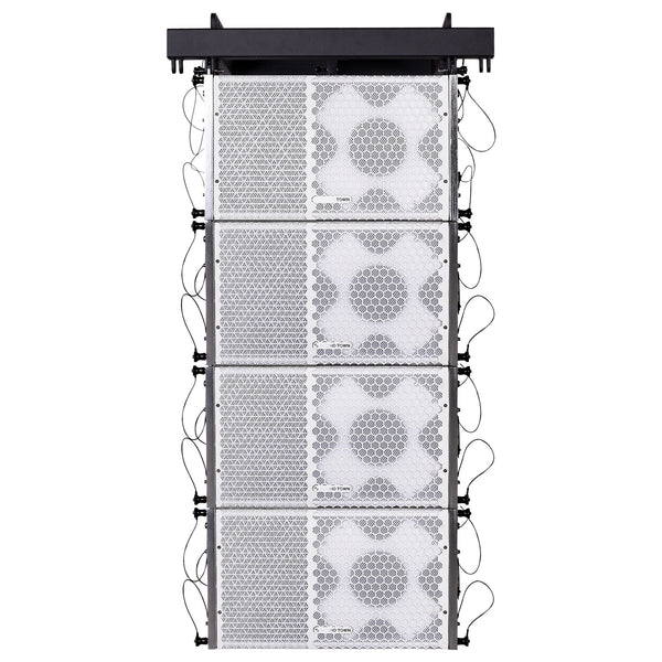 Sound Town ZETHUS-110WPWX4 ZETHUS Series Line Array Speaker System with Four Compact Powered 1 X 10-inch Line Array Speakers, White for Stages, Clubs, Bars, Restaurants, Churches and Schools