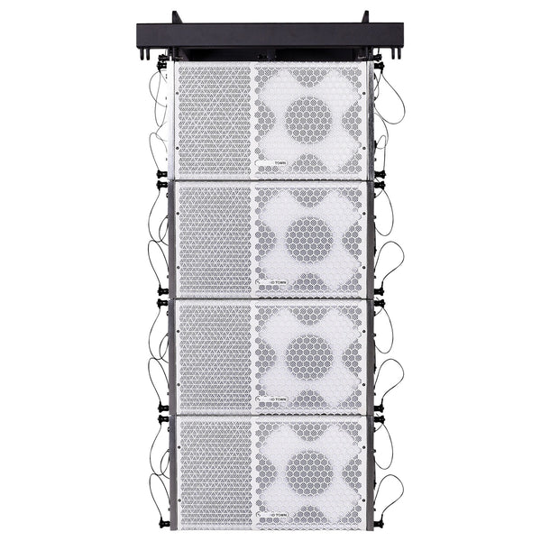 Sound Town ZETHUS-110WX4 ZETHUS Series Line Array Speaker System with Four Compact 1 X 10-inch Line Array Speakers, White for Stages, Clubs, Bars, Restaurants, Churches and Schools
