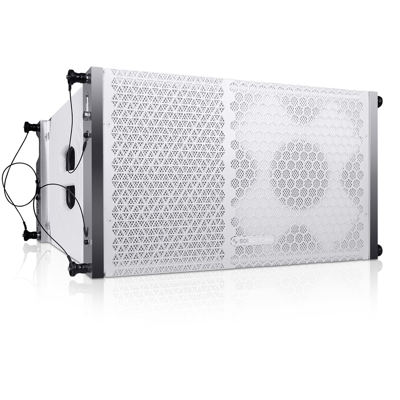 "Sound Town ZETHUS-110W ZETHUS Series 10"" Passive Two-Way Line Array Loudspeaker System with Titanium Compression Driver, White - Right Panel"
