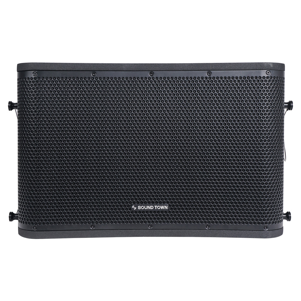 Sound Town ZETHUS-112BPWX4 ZETHUS Series 12 inch Powered 2-Way Line Array Loudspeaker System with Two Titanium Compression Drivers, Black for Live Sound, Club, Bar, Restaurant, Church and School - Front Panel